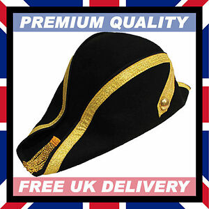 100% WOOL HAND MADE BICORN HAT • Soft Felt Military Naval Bicorne #15-17