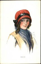 Court Barber? Beautiful Woman in Bonnet Type Hat MAUD c1910 Postcard