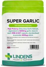 Super Garlic 6000mg 120 Capsules Blood pressure Cholesterol heart Lindens UK