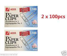 200 Pcs ACCO Smooth Finish Premium Paper Clips, Wire, No. 1, Silver, ( 72360 )