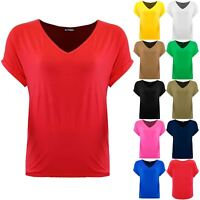 Plus Size Ladies Women Batwing Oversized Baggy Loose Turn Up Top V Neck T Shirt