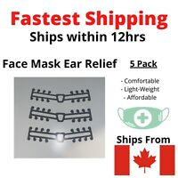 Face Mask Attachment Ear Saver Strap Clip for Comfort 3D 5 Pack CANADA