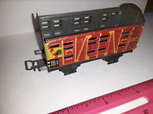 Vintage HO Scale MARKLIN Model-Train Cattle Car, missing top, Germany