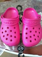 Girls Crocs Clog Size UK 8 EU 24-25 Infant Bright Pink Garden Shoe Summer New
