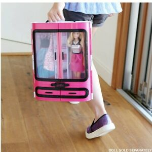 2015 Mattel Barbie Pink Wardrobe Closet w/ Handle Hard Plastic Carrying Case