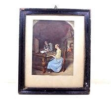 Vintage Beautiful A MAN TEACHING A LADY for PLAYING PIANO Scene LITHO PRINT#335