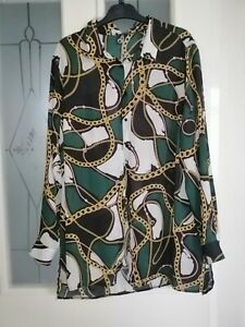 Ladies Size 18 Green Chain Print Floaty Blouse Shirt Top By Primark