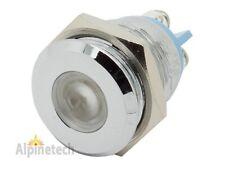 """PL16-W ATI 16mm 5/8"""" White 12V  LED Metal Indicator Pilot Dash Light Lamp"""