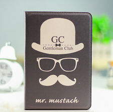 Kolorfish Designer Moustache Funky Leather Case / Cover For iPad 2 3 4 - Black