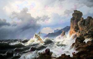 Seascape Maritime Achenbach Sea Storm Norway Coast Large Canvas Art Print