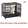 """36"""" Heavy Duty Dog Cage Strong Metal Pet Crate Kennel Playpen w/ Wheels&Tray New"""