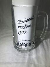 New listing Cincinnati Playboy Club 12 oz Glass Beer Stein Mug With Black Bunny Logo