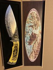 New Collectible -Custom Wildlife Bear Bowie Knife W/Carved Handle And Wood Box