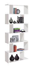 Bookcase White Gloss Tall Five Shelf Designer Display Stand