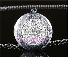Celtic Wheel of the Year Cabochon Glass Tibet Silver Locket Pendant Necklace