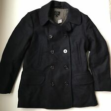 J Crew $288 Mens Wool Dock Peacoat with Thinsulate L Black 05536