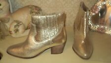 .ASOS GOLD LEATHER RANGER WESTERN ANKLE BOOTS BOOTIES PULL ON EU38*UK5*US7.5