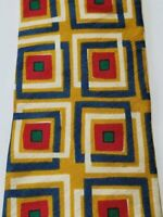 Countess Mara Silk Tie Necktie Geometric mod squares Luxury red gold blue #T182