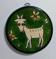Vtg Jerusalem Old City Round Wall Plaque Armenian Pottery Capricorn Goat Zodiac