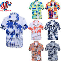 Mens Short Sleeve Floral Hawaiian Shirt Tropical Beach Holiday Aloha Party Tops