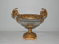ANCIENNE Coupe à Fruits en BRONZE et CRISTAL Taillé XIXème Siècle