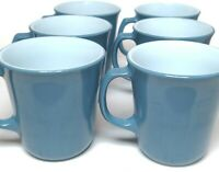 Vintage Milk Glass Pyrex Cups Mugs (6) In Steel Slate Blue D Handle