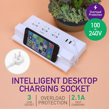 Power Board 3 Way Outlets Socket Overload Protected 3 USB Charging Charger Ports