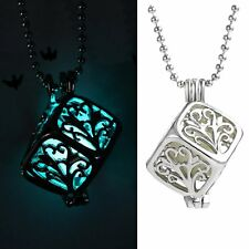 Magic Luminous Steampunk Fairy Square Locket Glow In The Dark Pendant Necklace