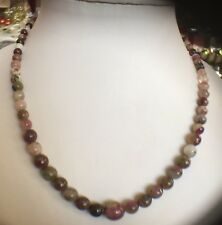 """AAA Tourmaline  Necklace Rhodium On silver 925  18"""" (115.000cts"""