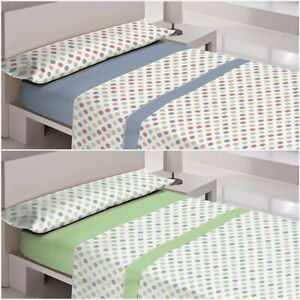 Juego de sabanas CHIPIONA - azul o verde - 50 % ALGODON - cama de 90,105,135,150
