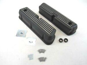 Small Block Ford 5.0L 289 302 Finned Aluminum Valve Covers Black E41201BK