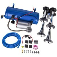 4-Trumpet Train Trucks Air Horn Kit 150 PSI 150db Air System With 12V Compressor
