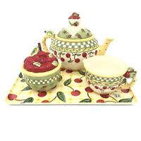 Vintage 1998 Mary Engelbreit Enesco Cherries Jubilee Teapot, Sugar, Cream, Tray