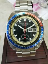 VINTAGE POGUE SEIKO 6139-6002 AUTOMATIC CHRONOGRAPH DAY DATE BLUE DIAL