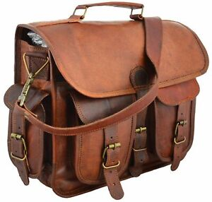 Men Real Goat Leather Vintage Brown Messenger Shoulder Laptop Bag Briefcase