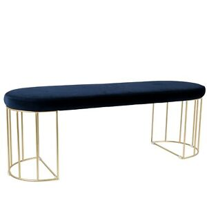 NEW Canary Bench in Blue Velvet & Gold Metal