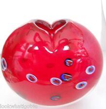 Murano Glass Studio Signed Sommerso Red Heart VASE w/ Millifiore