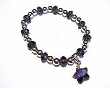 'AAA' GRADE PURPLE CRYSTAL GLASS BEADED STRETCH STAR CLIP CHARM BRACELET