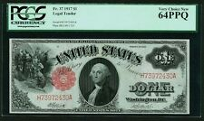 U.S.  1917  $1 LEGAL TENDER BANKNOTE, UNCIRCULATED, FR-37, CERTIFIED PCGS 64-PPQ
