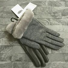 8166c1904cb63 UGG AUSTRALIA GREY WOOL BLEND   LEATHER TOUCH SCREEN GLOVES SIZE M BNWT