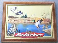 Budweiser Mallard Ducks Beer Mirror Sign Bar Man Cave Wildlife Hunting Htf Rare