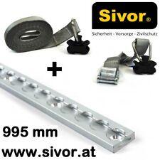 AluminiumAirlineZurrschiene eckig 995mm & 2 tlg Klemmschlossgurt Fitting Sivor