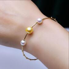 "7.5-8"" Gorgeous AAA+ 7-8mm natural Akoya white golden round pearl bracelet 18k"