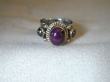 Cabochon Ruby & Hematite Ring by Reve Sterling & Solid 14K Yellow Gold Sz 6