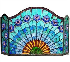 """48"""" W Regal Blue Plumes Tiffany Style Stained Glass 3 PC Fireplace Screen Decor"""