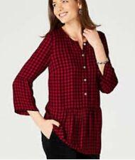 J. Jill Buffalo Peplum Top Red & Black Plaid Women's Size Extra Small XS Petite