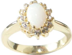 FREE ENGRAVING! SEMI PRECIOUS 7.5mm Gemstone OPAL Yellow Gold Bonded Ring