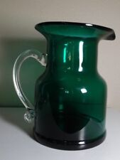 FOREST GREEN ? ART GLASS PITCHER W/CLEAR APPLIED HANDLE FLARED WIDE RIM UNSIGNED