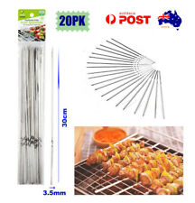 STAINLESS STEEL ROUND METAL SKEWERS 30 cm BBQ Grill Kebabs Outdoor Cooking