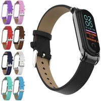 Strap PU Leather Band Replacement Wristband Metal Frame For Xiaomi Mi Band 4 3
